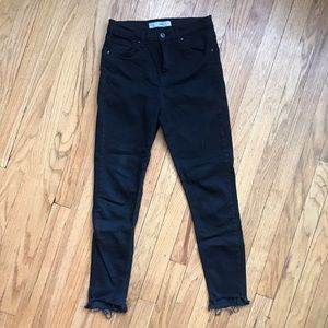 High waisted black skinny jeans ankle distress